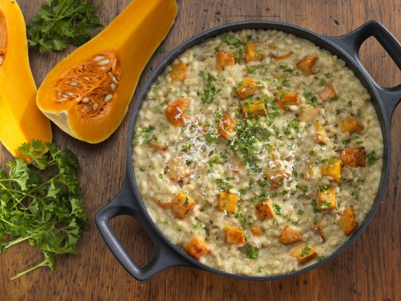 barley and butternut squash risotto