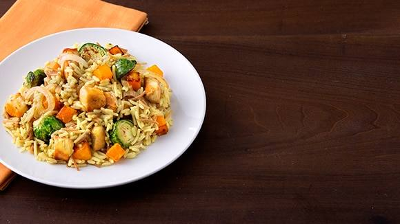 Chicken with Brussels Sprouts & Butternut Squash Skillet Dinner