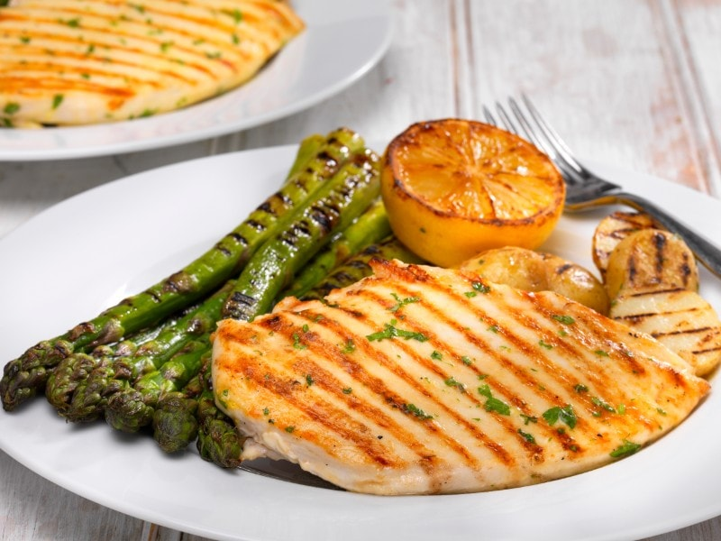 Chicken Escalopes with Grilled Asparagus