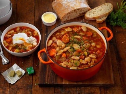 Butterbean Stew with Poached Egg & Soft Goats' Cheese