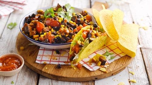 Krokante Vegetarische Mexicaanse taco's