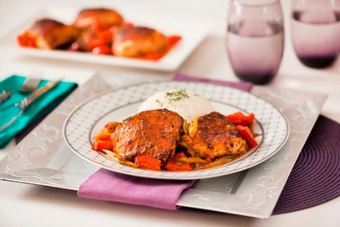 Baked Chicken with Herbs and Bell Pepper