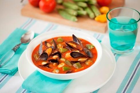 Seafood soup with Okra