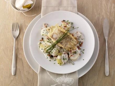 Knorr - Gebratenes Kabeljaufilet mit Kräuter-Weinsauce