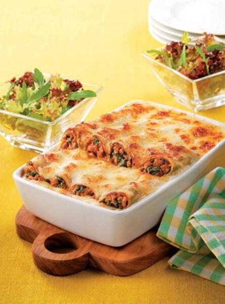 Knorr - Gefüllte Cannelloni mit Faschiertem und Blattspinat