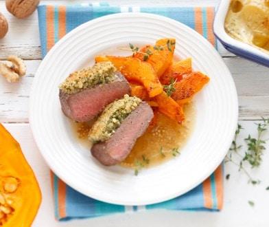 Knorr - Lammrückenfilet mit Kräuter-Nusskruste, Senfsauce und Kartoffelgratin