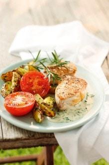 Knorr - Putenmedaillons mit Bärlauchsauce und Ofenkartoffeln