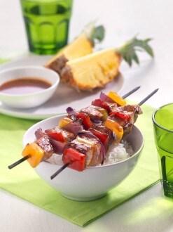 Knorr - Bunte Spiessli mit Schweinsfilet, Peperoni, Zwiebel und Honig-Glasur