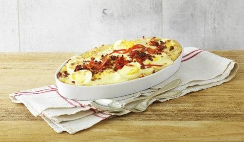 Knorr - Gratinierter Kartoffelstock mit Peperoni und Speckwürfeli