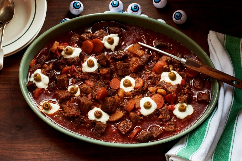 Ghoulish goulash served with monster eyeballs