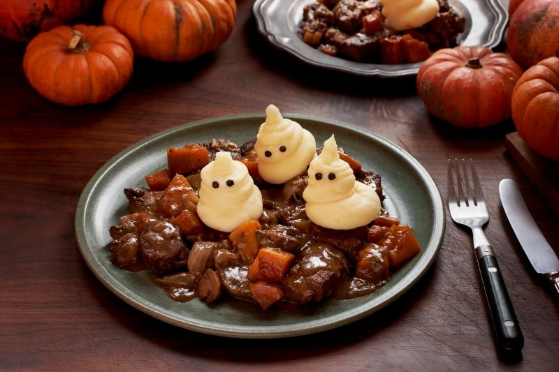 Scarily boo-tiful beef stew with ghostly potato pals