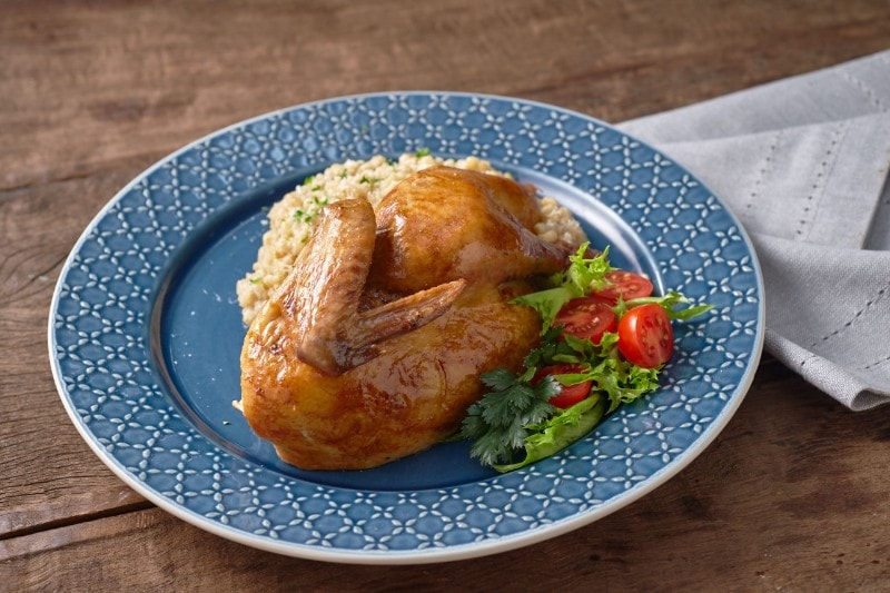 Roast Chicken with Barley Porridge