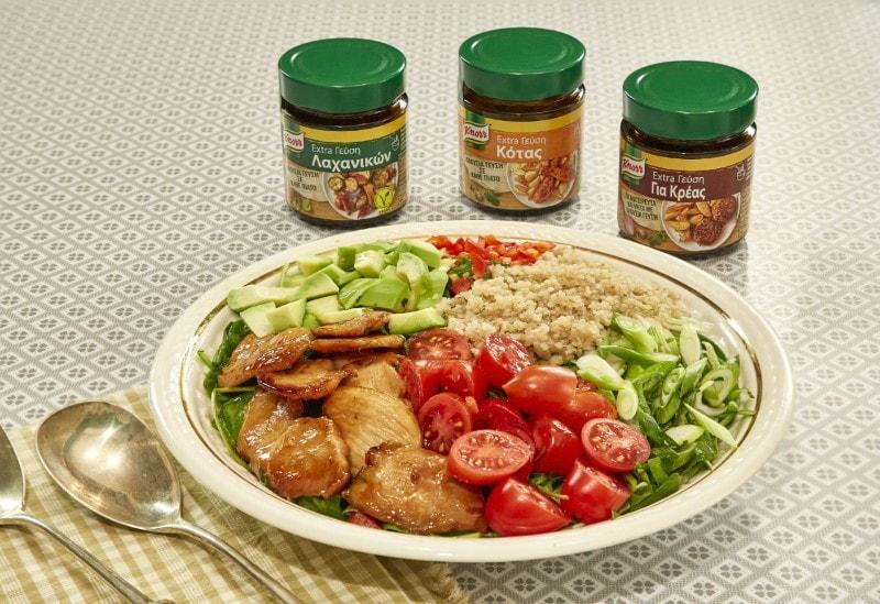 Σαλάτα με κινόα, κοτόπουλο σοτέ και αβοκάντο