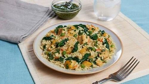 Arroz de vegetales y tofu con chimichurri