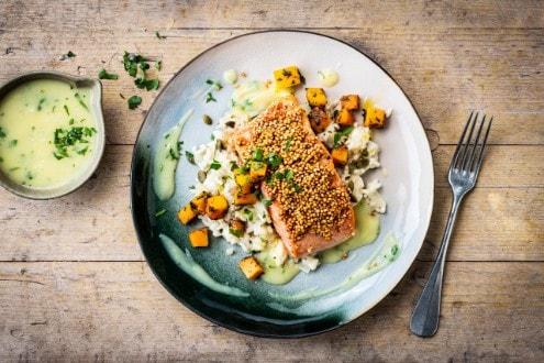 Knorr - Lachs mit Quinoakruste und Kürbis-Gremolata