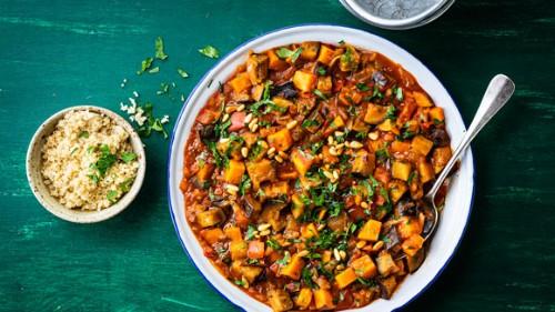 Stoofschotel met zoete aardappel en quinoa