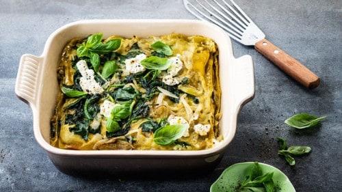 Groene lasagne met spinazie en ricotta