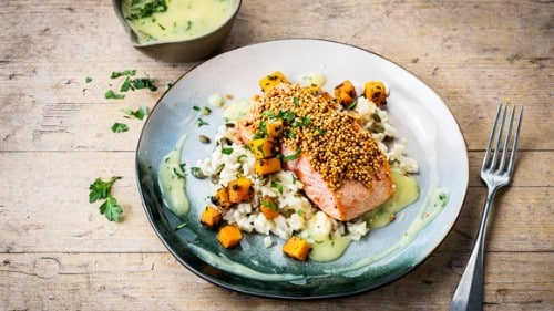 Gebakken zalm met gepofte quinoa