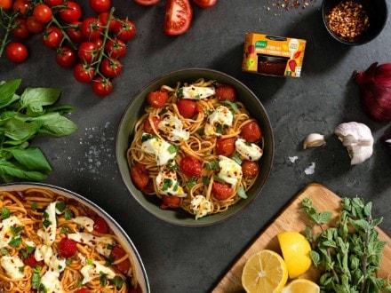 One Pot Tomato Pasta and Marinated Mozzarella