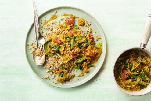 Curry de lentejas y espinacas