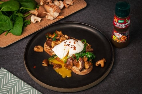 Pan Fried Mushroom and Poached Egg