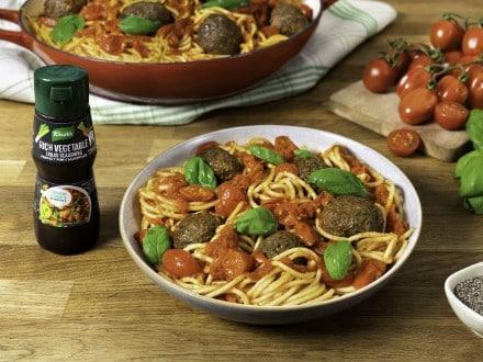 Spaghetti with Mushroom and Lentil Meatballs