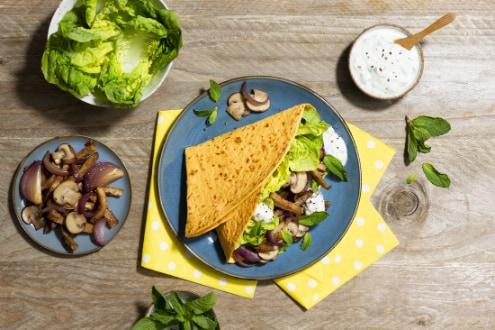 Wortelwrap met tzatziki en vegetarishe gyros
