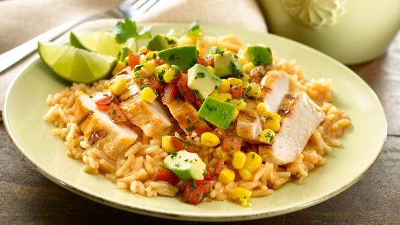 Baja Chicken with Chipotle Rice & Avocado-Corn Salsa