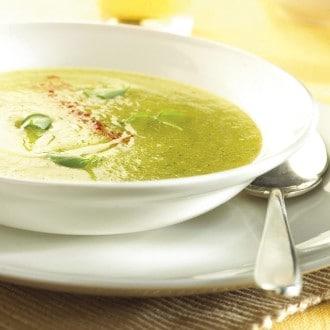 Soupe aux tomates jaunes, basilic et mascarpone
