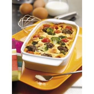 Clafoutis au boeuf, tomates cerises et brocolis