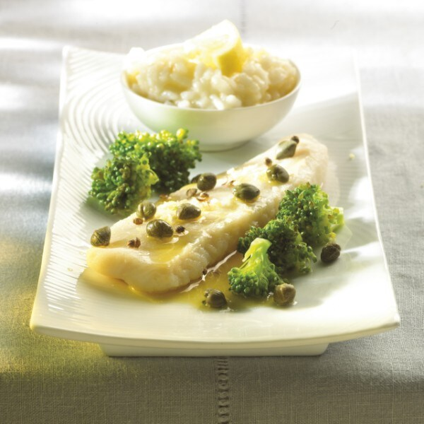 Pangasius met kappertjes met risotto met knoflook en citroen & broccoli
