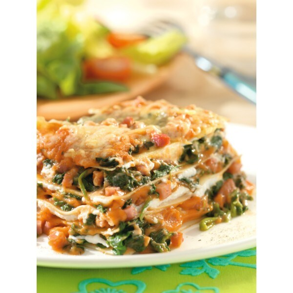 Lasagne met spinazie en ham