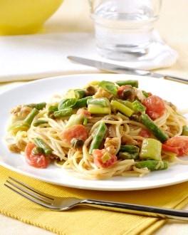 Spaghetti aux petits légumes, câpres et noix
