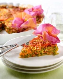 Tarte tomate-potiron aux petits pois et lardons