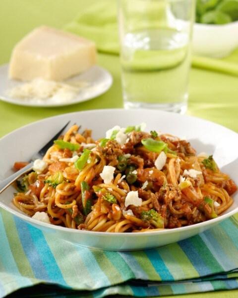 Spaghetti met Italiaanse gehakt-groentesaus
