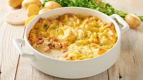 Zalm en aardappel Hollandaise uit de oven