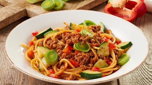Spaghetti bolognese met verse groenten