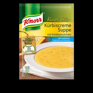 KNORR Kaiser Teller Kürbiscreme Suppe mit Kürbisstücken