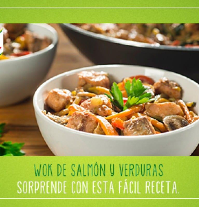 wok de salmon y verduras