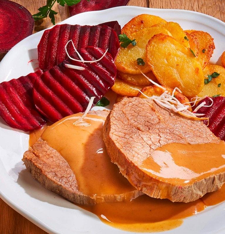 Rinderbraten, Rote Beete, Bratkartoffeln