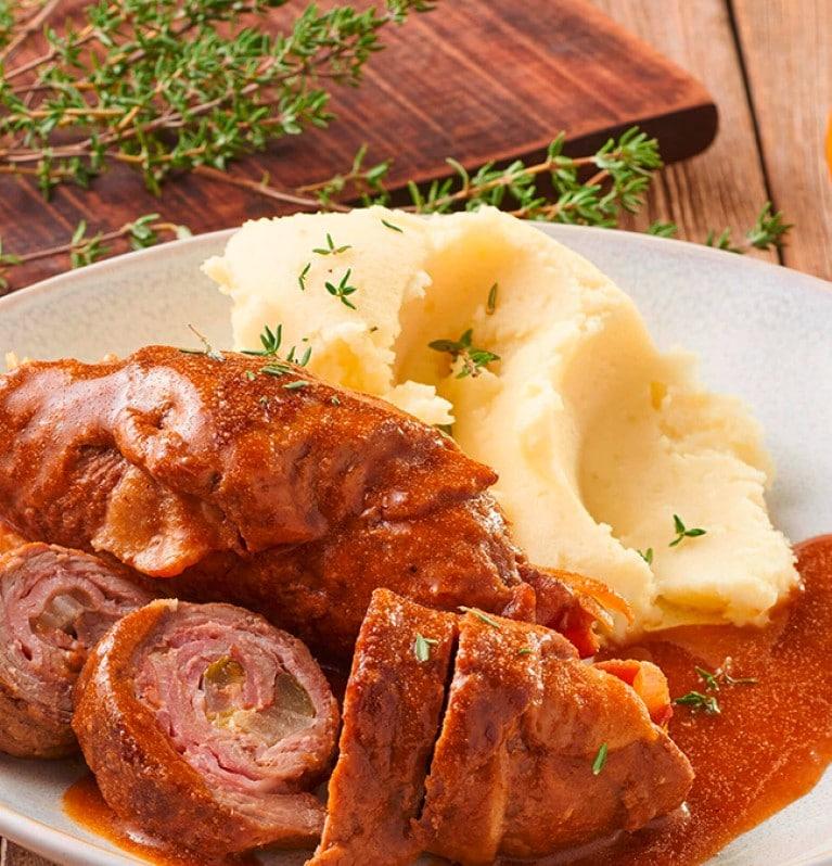 Rinderrouladen, Kartoffelbrei, Sauce