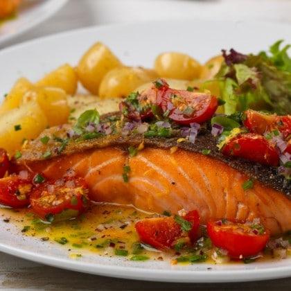 salmon fillet with herb vinaigrette