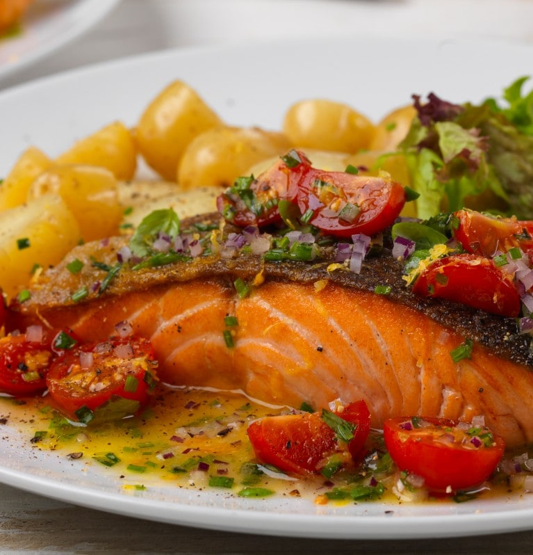 salmon fillet with herb vinaigrette