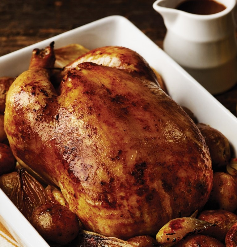Lemon roast chicken with potatoes & shallots