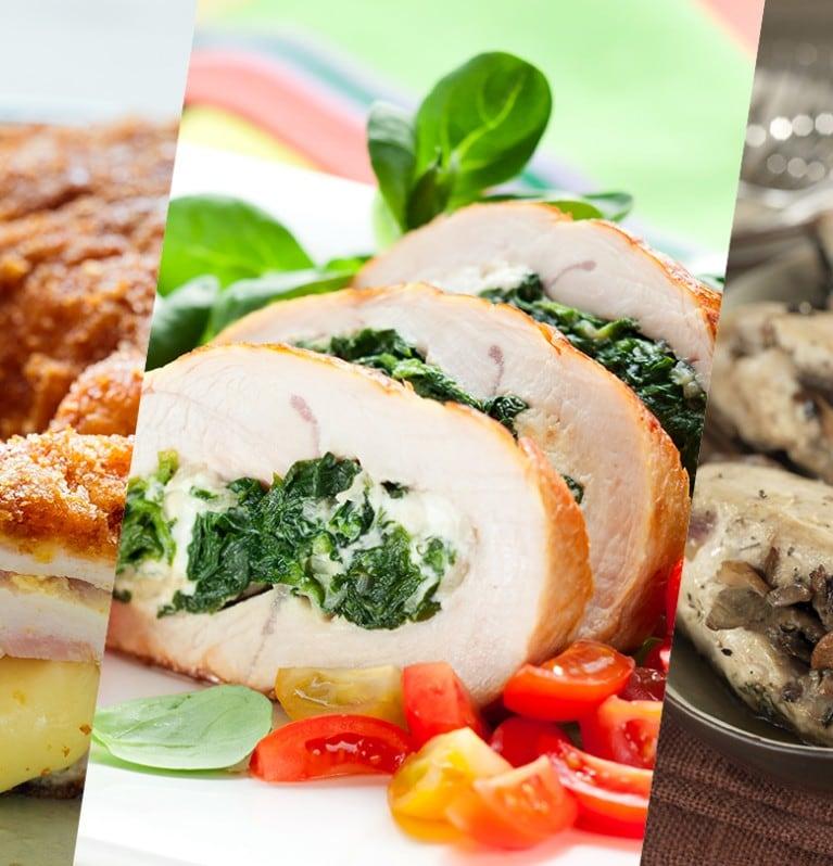 Pechugas de pollo rellenas de tres formas deliciosas
