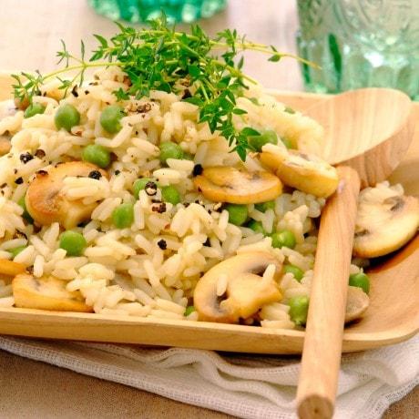 Savory Mushroom and Pea Rice